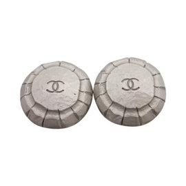 Chanel Silver Tone Hardware CC Logo Clip On Earrings