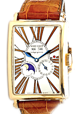 "Image of ""Roger Dubuis Bi-Retrograde Calendar Moonphase 18K Rose Gold Mens Watch"""