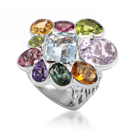Dior 18K White Gold Multi-Gemstone Cocktail Ring Sz 6.25