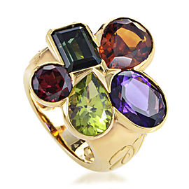 Dior 18K Yellow Gold Multi-Gemstone Cluster Ring Sz 5