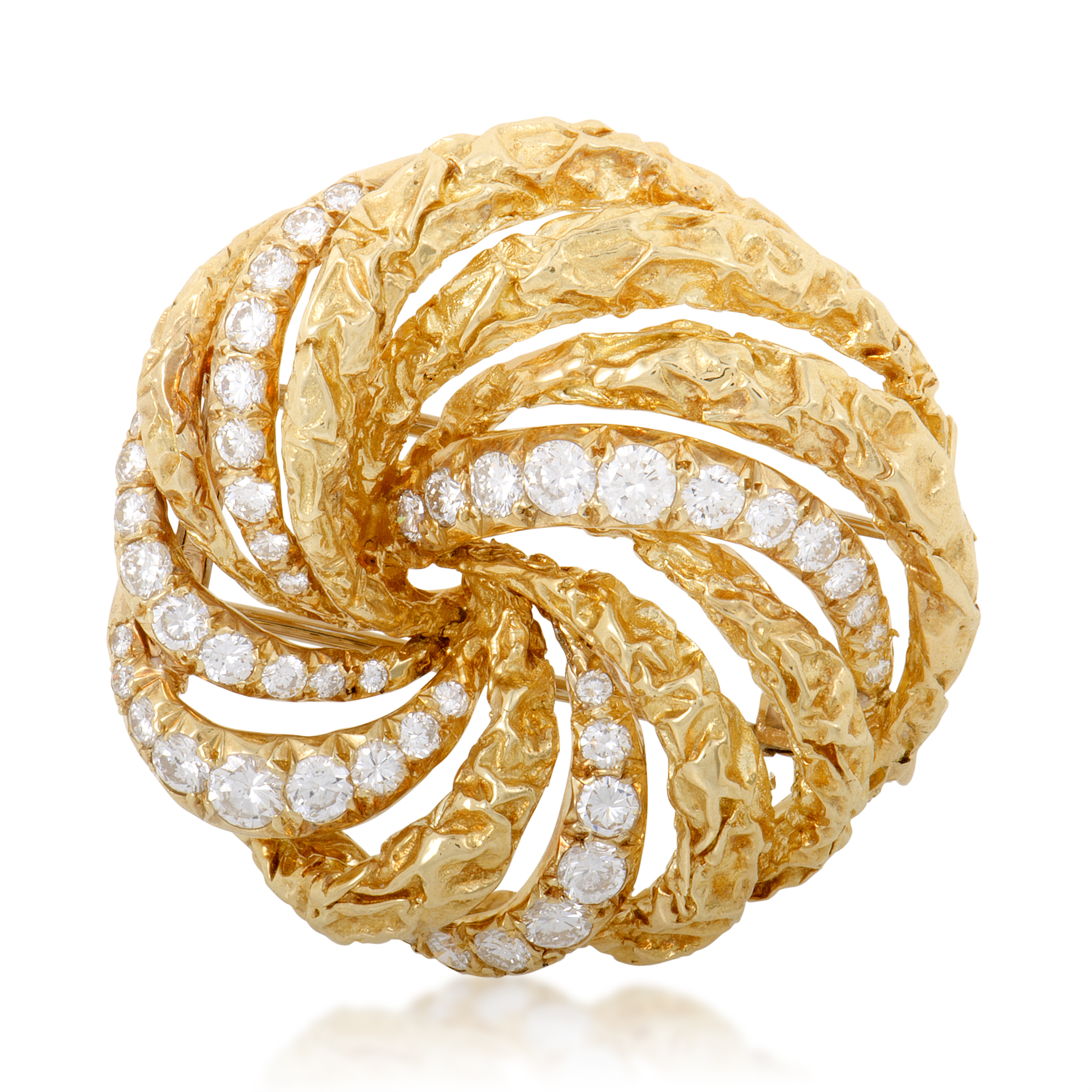 "Image of ""Dior 18K Yellow Gold and Diamond Swirl Brooch"""