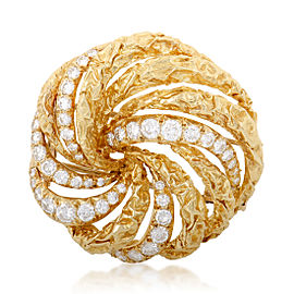 Dior 18K Yellow Gold and Diamond Swirl Brooch