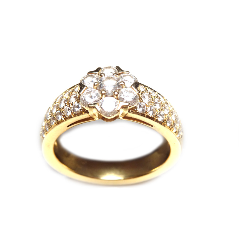 "Image of ""Van Cleef and Arpels 18K Yellow Gold Fleurette 3 Row Diamond Ring"""