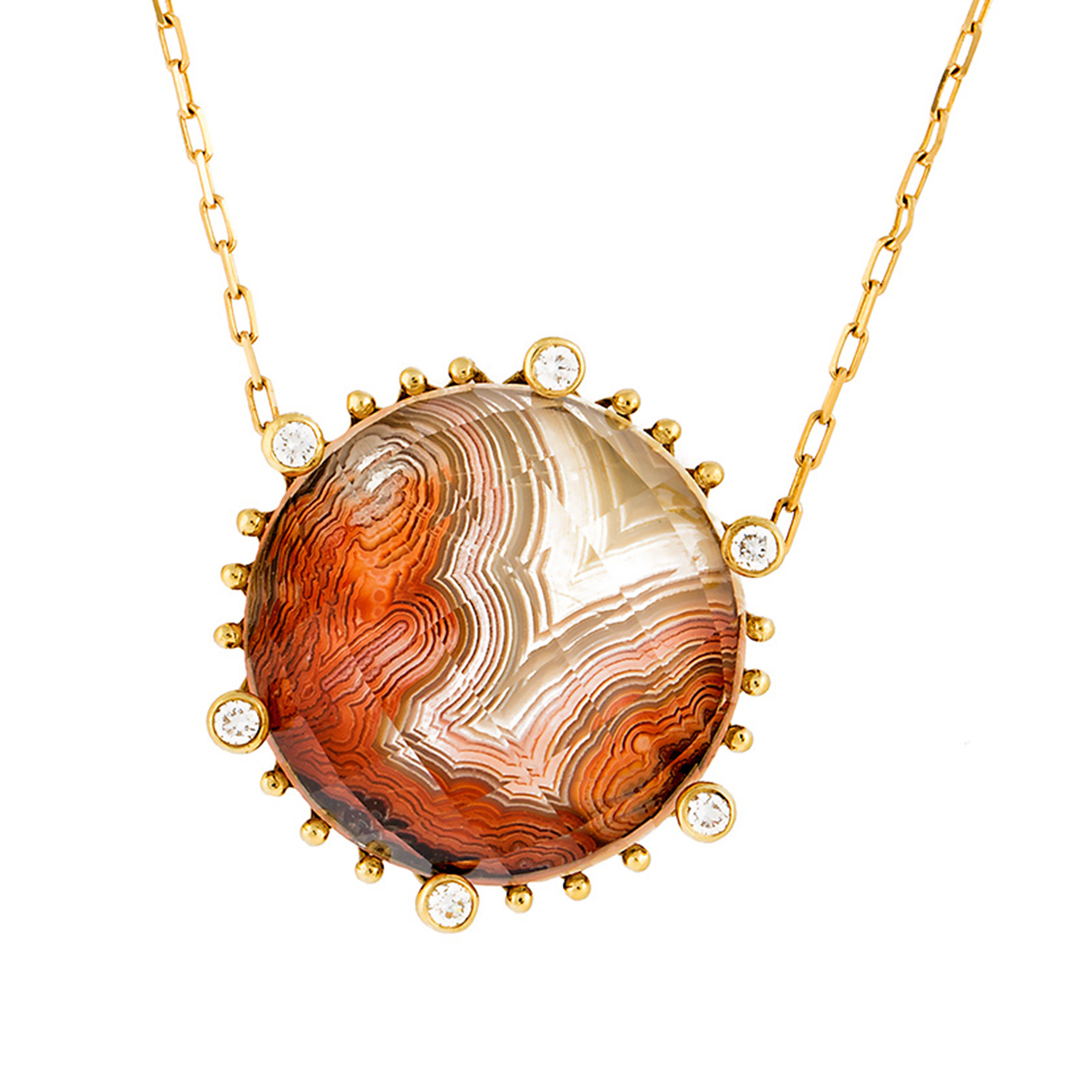 "Image of ""18k Yg Small Round Laguna Agate and Crystal With Diamond on 6"""