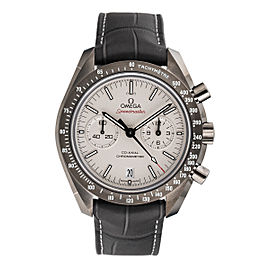 Omega Speedmaster Moonwatch 311.93.44.51.99.001 Sandblasted Platinum Dial Grey Leather Chronograph Automatic 44.25mm Mens Watch