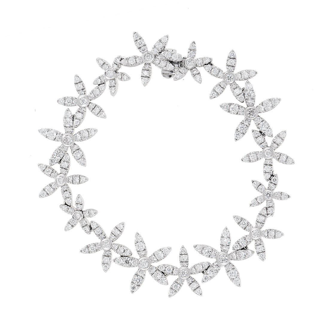 "Image of ""Asprey 18K White Gold Diamond Flower Necklace and Bracelet Set"""