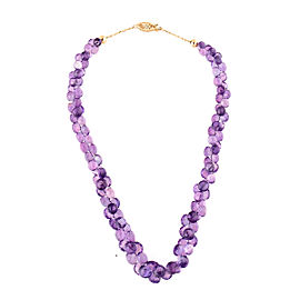 14k Yellow Gold Amethyst Beaded Necklace