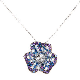 ZYDO 18K White Gold with 3.26ct. Sapphire & 1.4ct. Amethyst Necklace