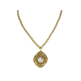 Chanel Gold Pearl Pendant Necklace