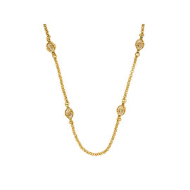 Chanel Gold-Tone Metal Pearl Egg Necklace