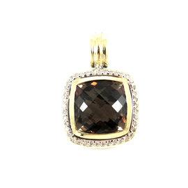 David Yurman Sterling Silver 18K Yellow Gold Smoky Quartz Diamond Pendant