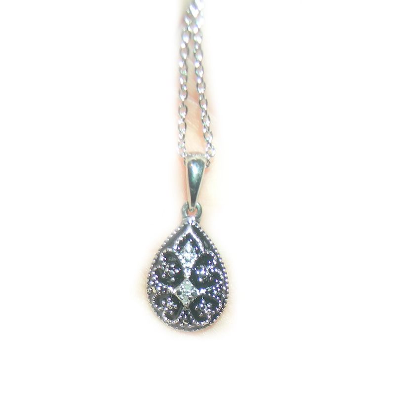 "Image of ""Diamond Accent Pendant in Sterling Silver & Stainless Steel Necklace"""