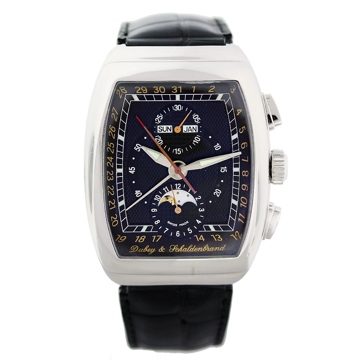 "Image of ""Dubey & Schaldenbrand Gran Chrono Astro Stainless Steel & Leather 38mm"""