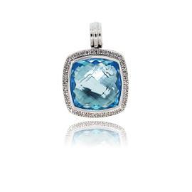 David Yurman Albion Diamond & Blue Topaz Pendant