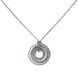 David Yurman Sterling Silver & Diamond Disc Pendant Necklace