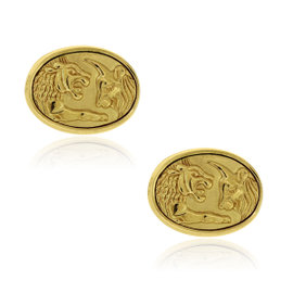 David Yurman 22K Yellow Gold Lion & Ox Cufflinks