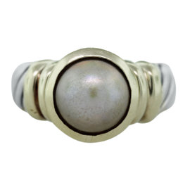 David Yurman Two Tone Pearl Cable Ring