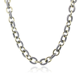 David Yurman Two Tone Oval Large Link Necklace
