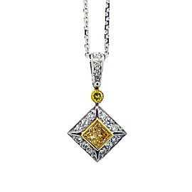 Jack Kelege Yellow & White Diamond Platinum and 18K Yellow Gold Necklace
