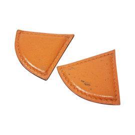 Hermes Orange Leather Earrings