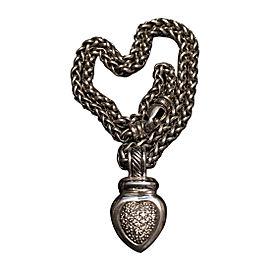 David Yurman 18K White Gold and Sterling Silver 0.30ct Diamond Pendant Necklace