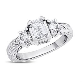 14k White Gold 1.55ct. Emerald Cut Diamond Engagement Ring Size 7.25