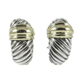 David Yurman Sterling Silver & 14K Yellow Gold Thoroughbred Shrimp Earrings