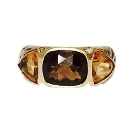David Yurman 925 Sterling Silver & 18K Yellow Gold Smoky Quartz & Citrine Mosaic Ring Size 6.25