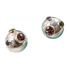 Tiffany & Co. Sterling 18K Gold Etoile Tourmaline Sapphire Peridot Ball Earrings