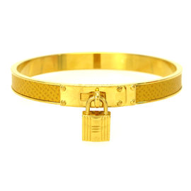 Hermes Gold-Tone Bangle Padlock Charm Bracelet