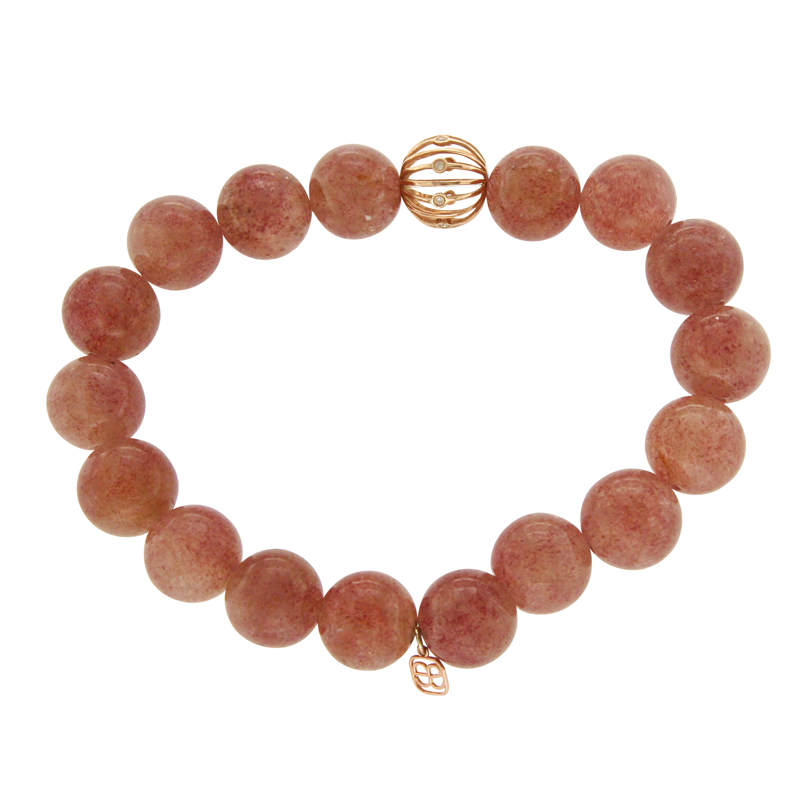 "Image of ""Sydney Evan 14K Rose Gold Bezel Diamonds Red Brown Agate Beads"""