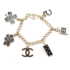 Chanel Gold Black Motif Charm Bracelet