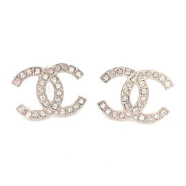 Chanel Silver Tone Hardware CC Round Square Crystal Earrings