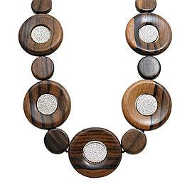 Pamela Huizenga 18K Yellow Gold 9.16ct Diamond and 468.01ct Round Wood Beads Necklace
