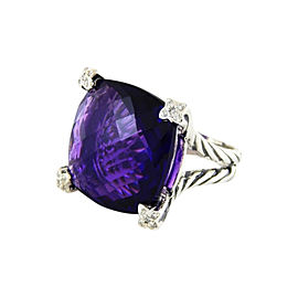 David Yurman Sterling Silver Amethyst & 0.10ct Diamond Chatelaine Ring Sz 6.5