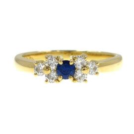 Mikimoto 18K Yellow Gold 0.17 Ct Diamond and 0.12 Ct Sapphire Ring Size 4.5