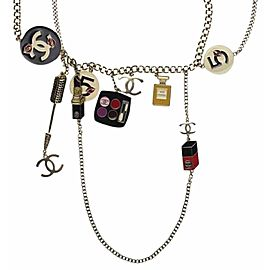 Chanel Silver Tone Charm Necklace