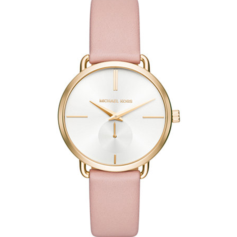 """Image of """"Michael Kors Portia Mk2659 Stainless Steel & Pink Leather Strap 36mm"""""""