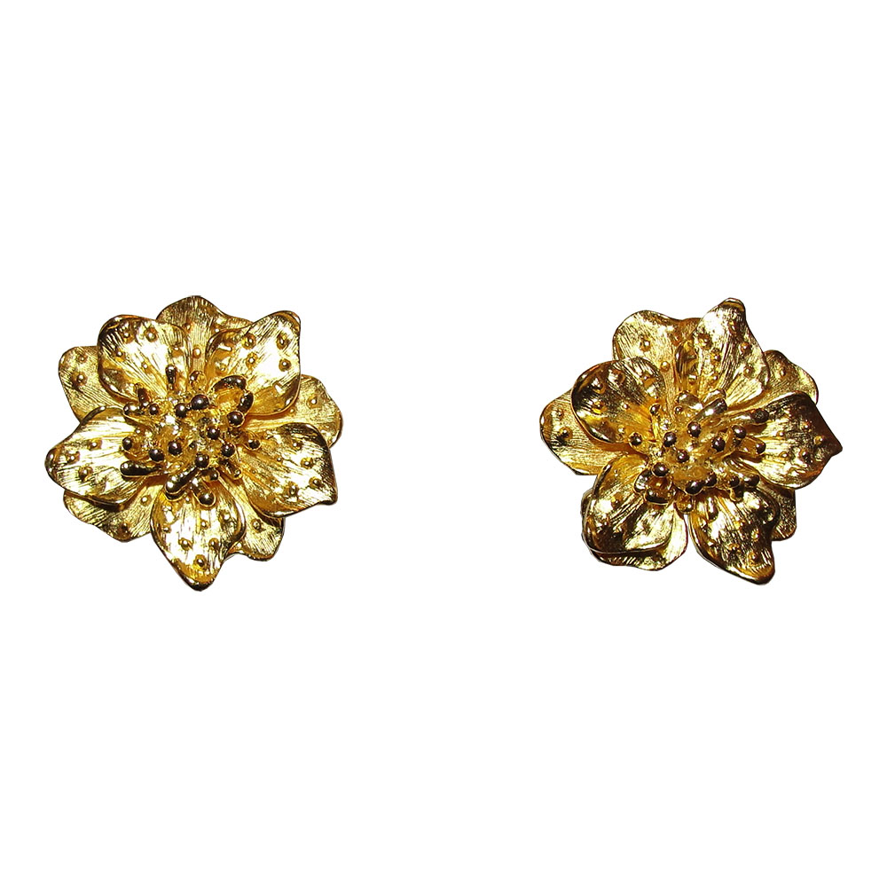 "Image of ""Kenneth Jay Lane 18K Yellow Gold Plated Metal Flower Clip-On Earrings"""