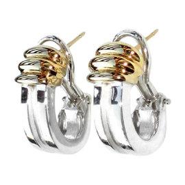 Tiffany & Co. 18K Yellow Gold & Sterling Silver Atlas Grooved Earrings