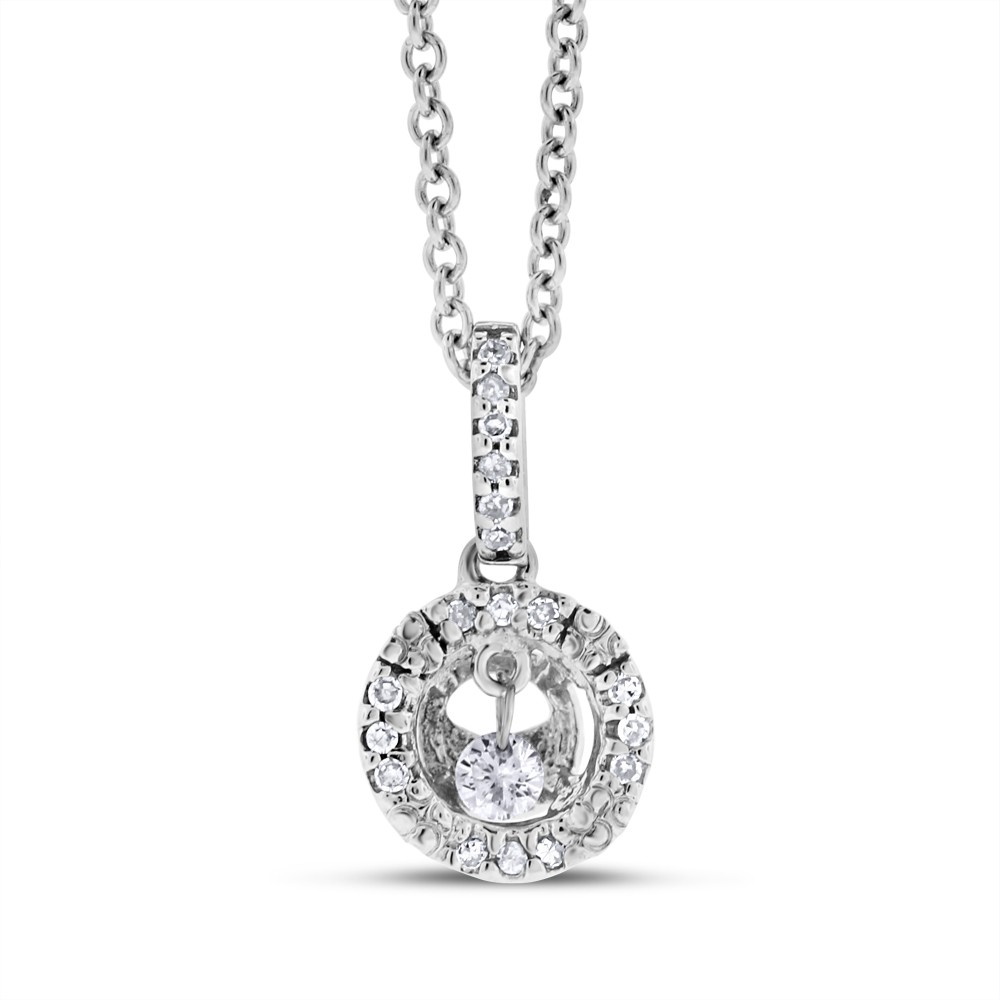 "Image of ""14K White Gold 0.10ct. Dancing Diamond Halo Small Pendant Necklace"""