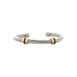 David Yurman Cable Classics Sterling Silver and 14K Yellow Gold Ruby Double-Station Bracelet
