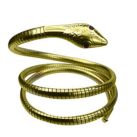 Vintage 14K Yellow Gold with Ruby Flexible Snake Cuff Wrap Bracelet