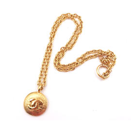 Chanel 24K Gold Plated CC Coin Pendant Necklace