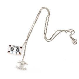 Chanel CC Silver Tone Metal & Crystal Cassette Dangle Pendant Necklace