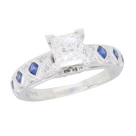 14K White Gold 1.22ctw Diamond & Blue Sapphire Ring Size 7