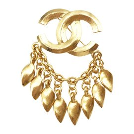 Chanel CC 24K Gold Plated Chain Dangle Brooch