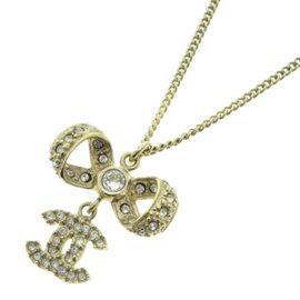Chanel Silver Tone Metal Coco Mark Crystal Necklace