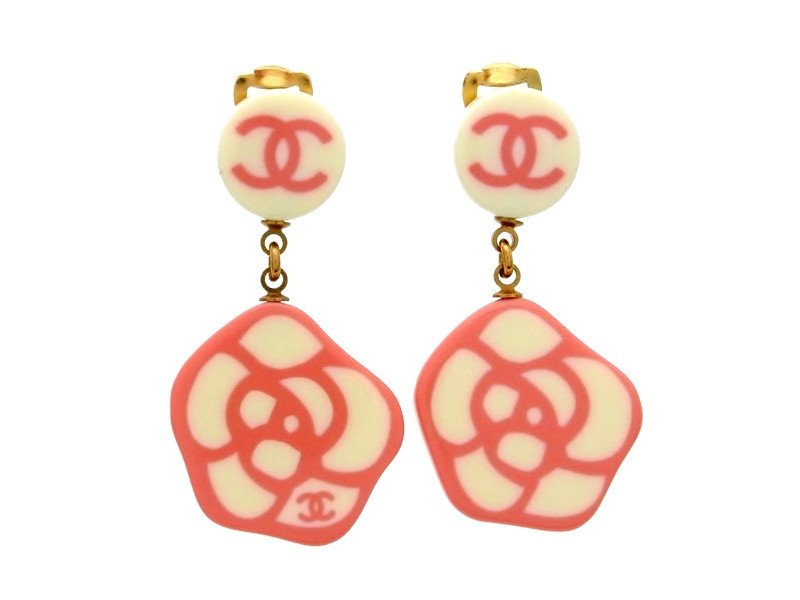 """Image of """"Chanel Camellia Gold Tone Metal & Plastic Earring"""""""