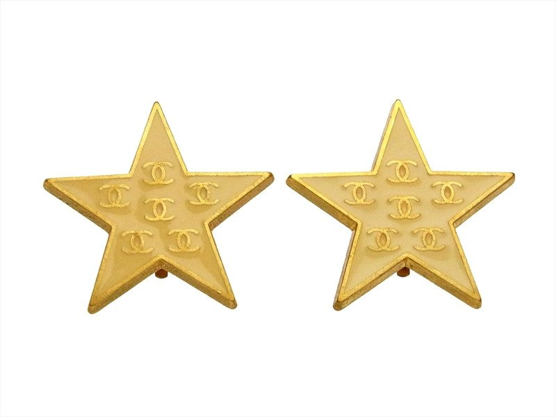 "Image of ""Chanel CC Logo Gold Tone Metal Star Earrings"""
